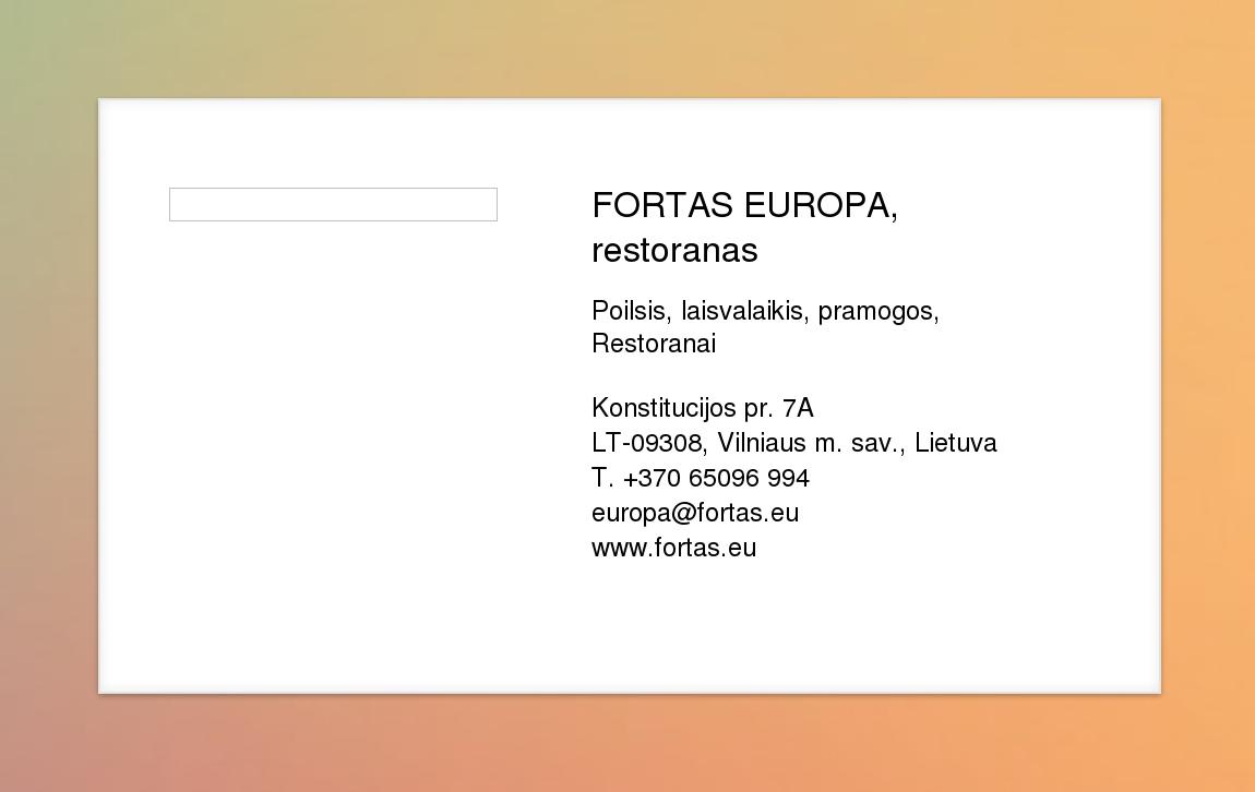 Fortas Europa Restoranas Virtuali Vizitinė Kortelė
